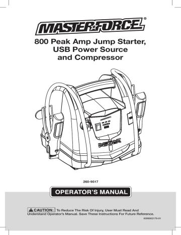 Schumacher USB Power Source and Compressor MF182 Owner