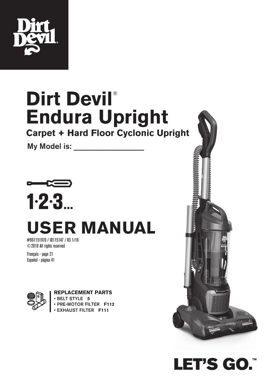 Dirtdevil UD70187 Power Max Rewind Pet Product Manual