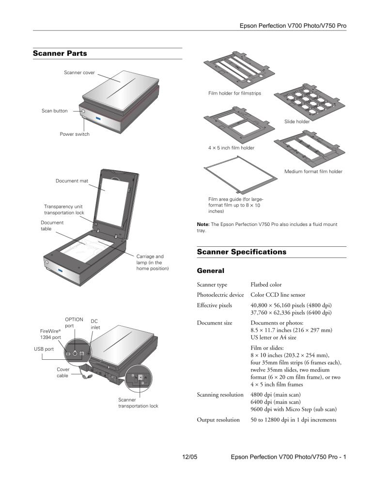 Epson Perfection V750 PRO, Perfection V700 Series, V750-M