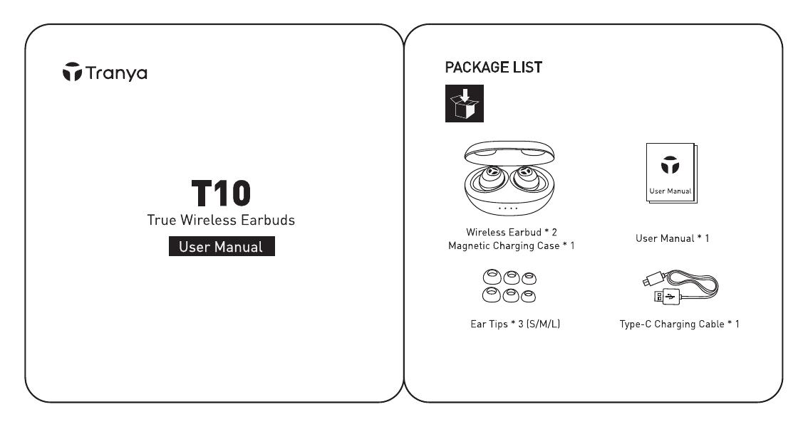 TRANYA TRANYA T10 Bluetooth 5.0 Wireless Earbuds User
