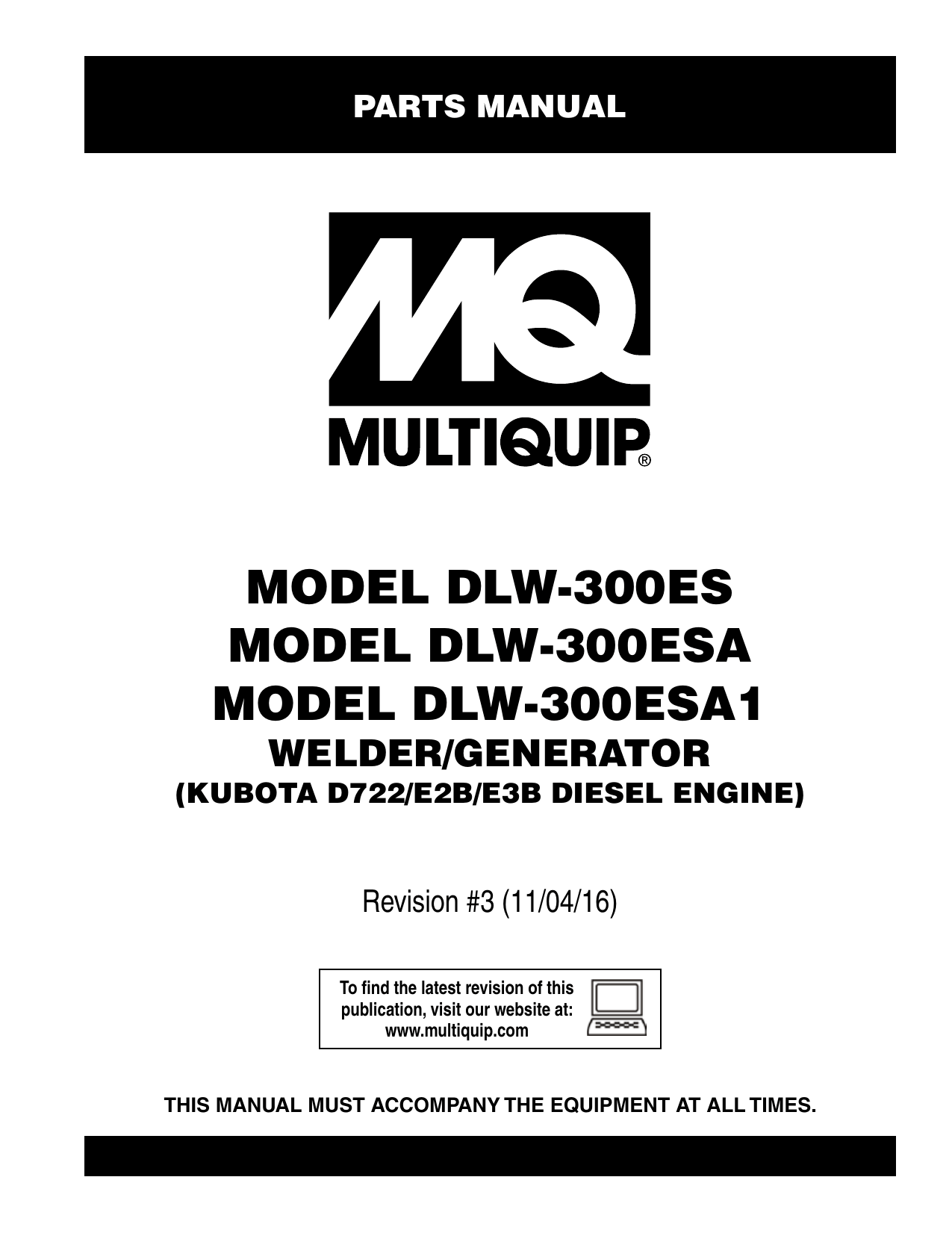 MQ Multiquip DLW300ES_ESA_ESA1 Diesel-Powered Welder Parts