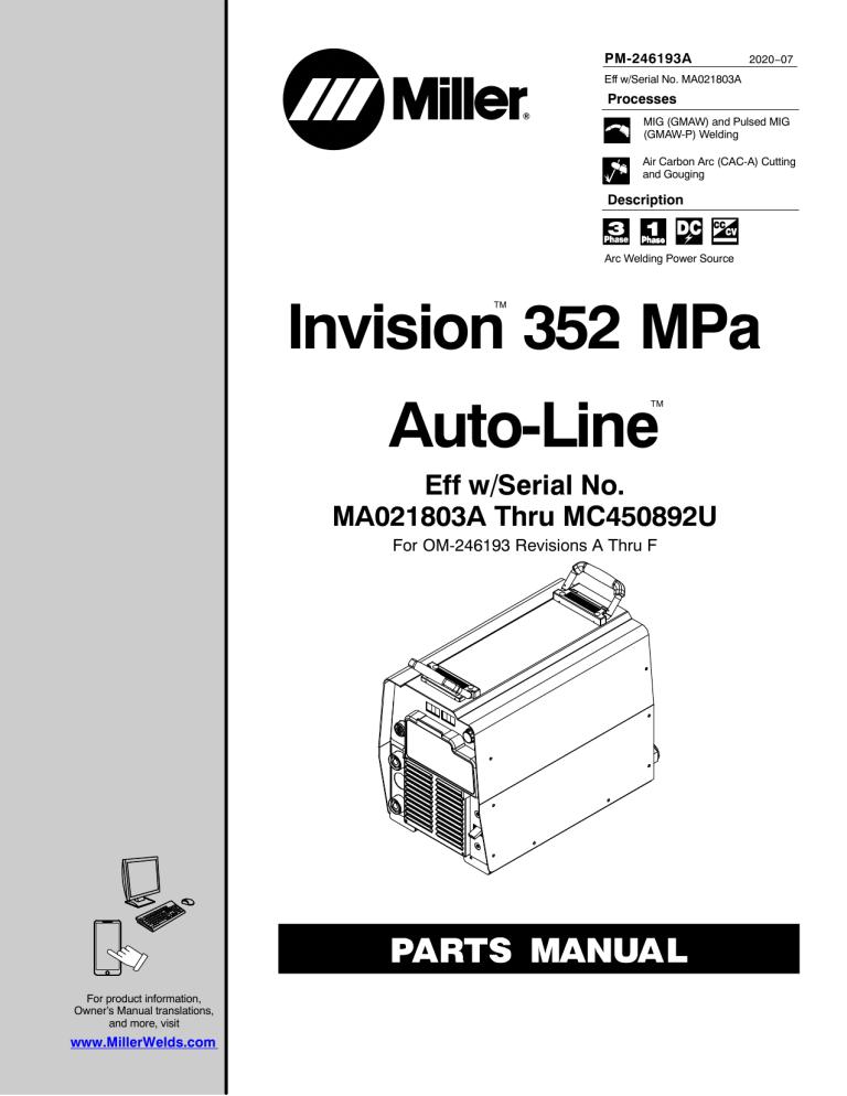 Miller MC510003U, MD122320U, MB520506A, MC450893U