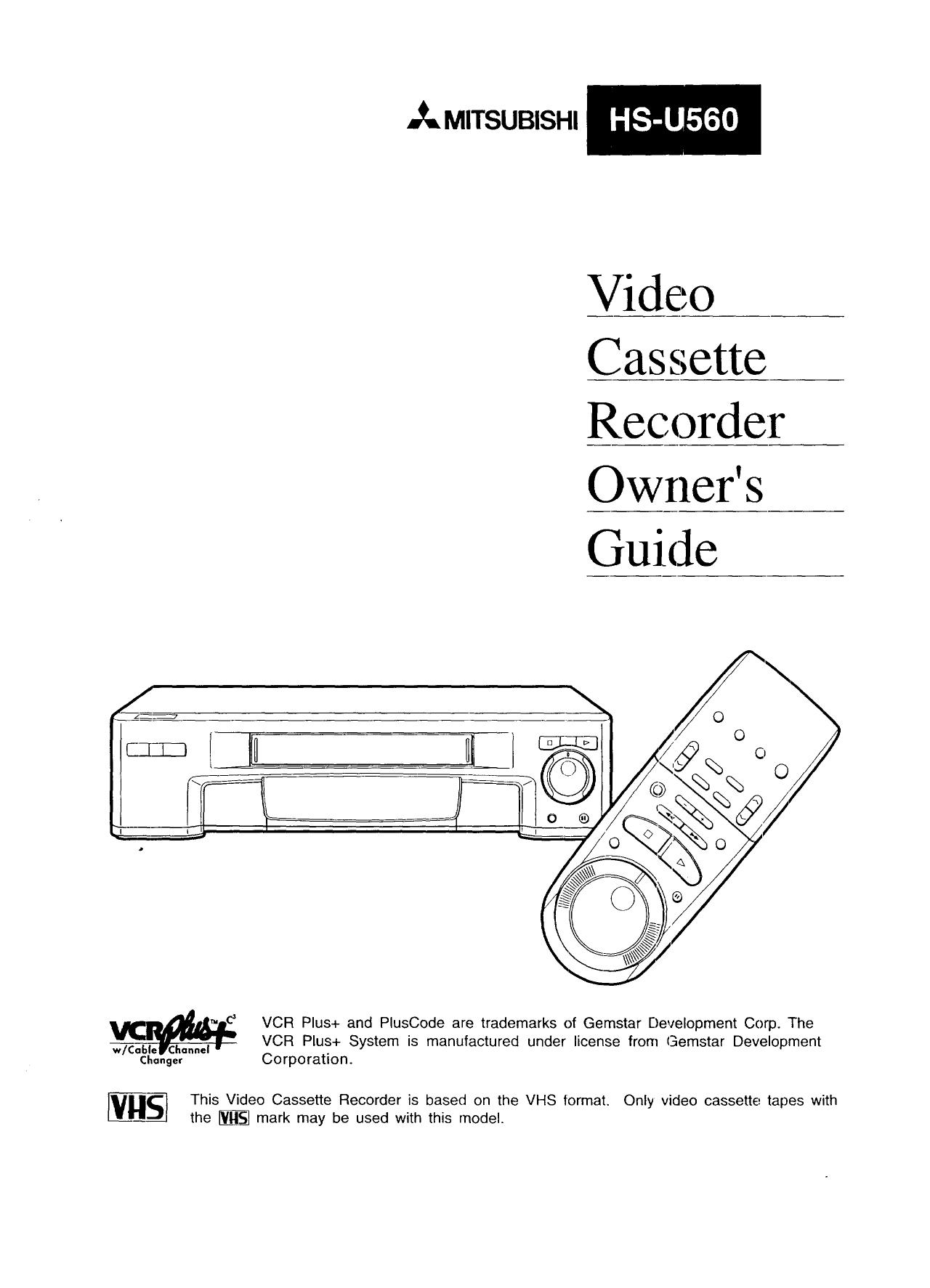 Mitsubishi HSU560C Videocassette Recorder Owner's Manual