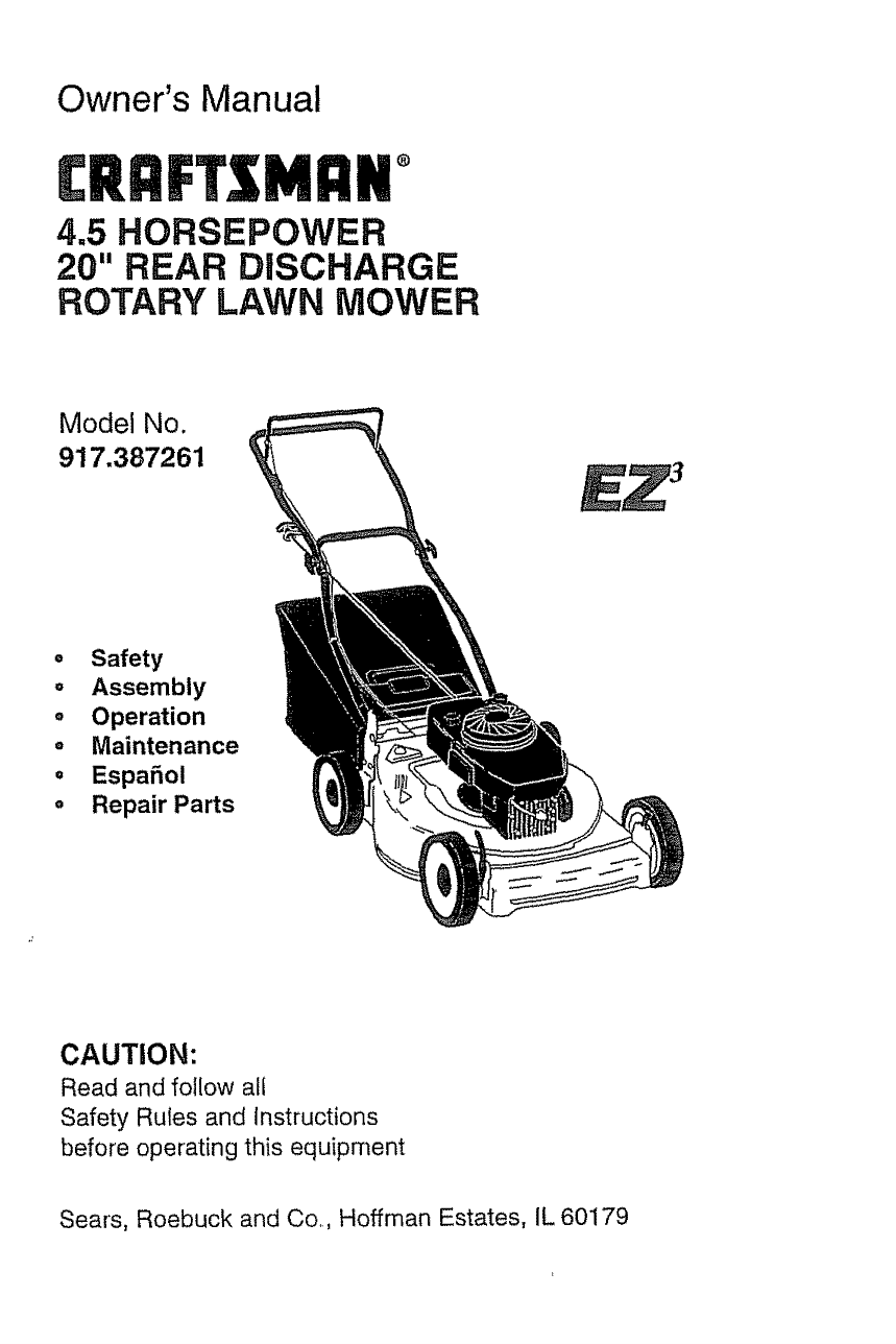 Craftsman 917387261 Rotary Lawn Mower Owner's Manual