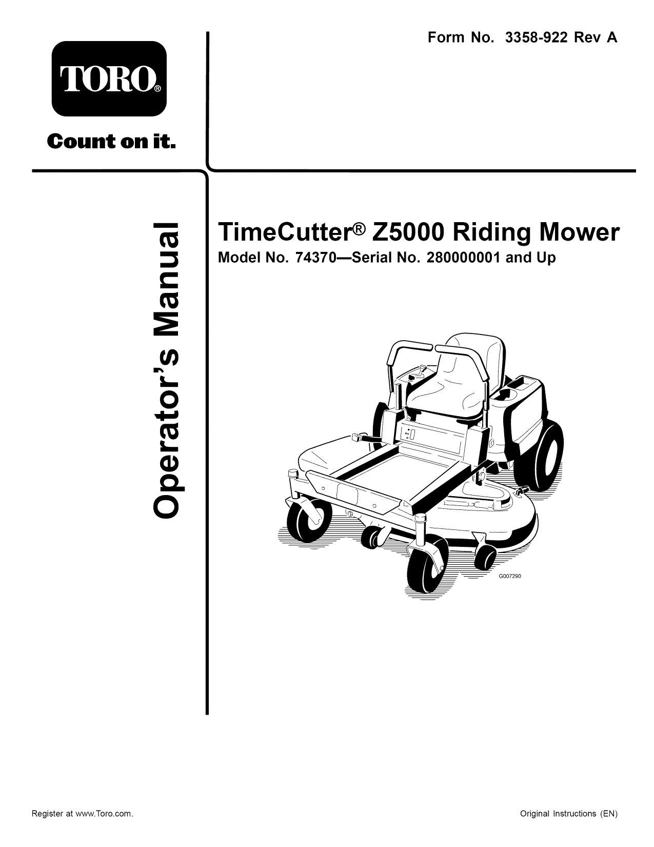 Toro 74370 (270000001-270999999) Riding Lawn Mower Owner's