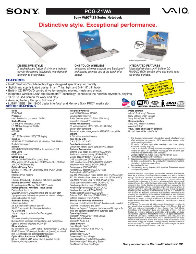 Sony PCG-Z1WA VAIO User Guide (primary manual