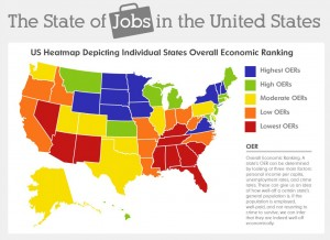 The State of Jobs in the United States heat map (credit - eBay Classifieds Blog)