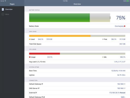 System Status Lite - CPU, battery, storage monitor Screenshot