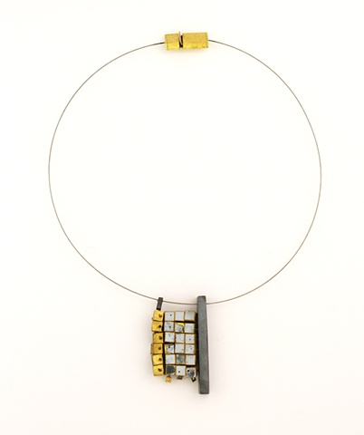 Michael Rybicki - PouredGrid:18x12 (2011). Necklace: Sterling, Brass, Enamel, Stainless