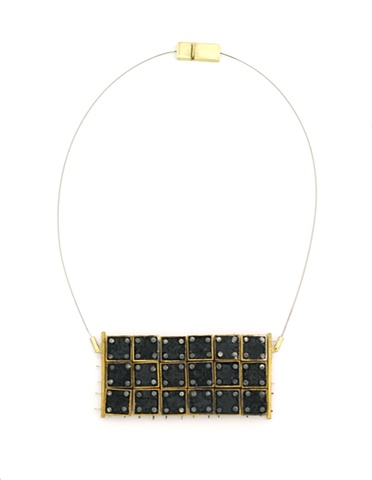 Michael Rybicki - PouredGrid:18 (2011). Necklace: Sterling, Brass, Enamel, Stainless