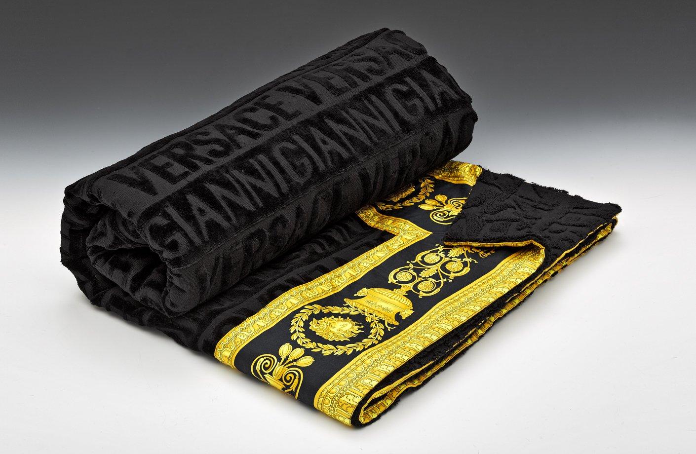 Black Plaid Wallpaper Barocco Beach Towel Versace Home Australia