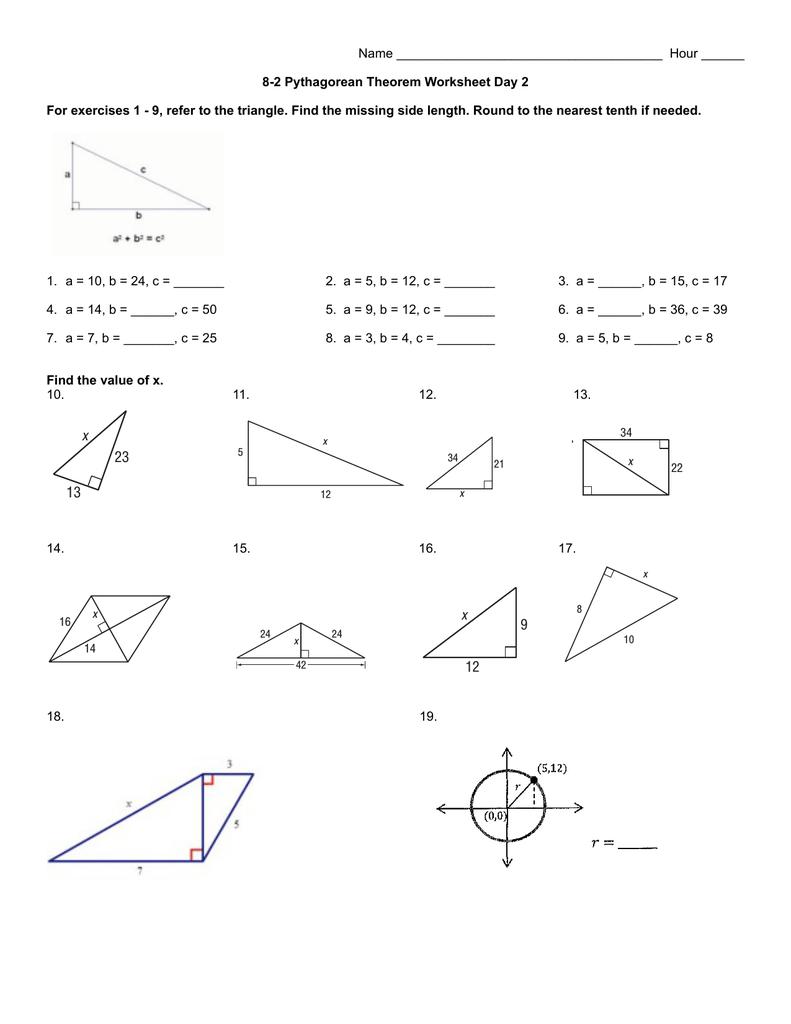 hight resolution of 8-2 Pythagorean Theorem Worksheet day 2