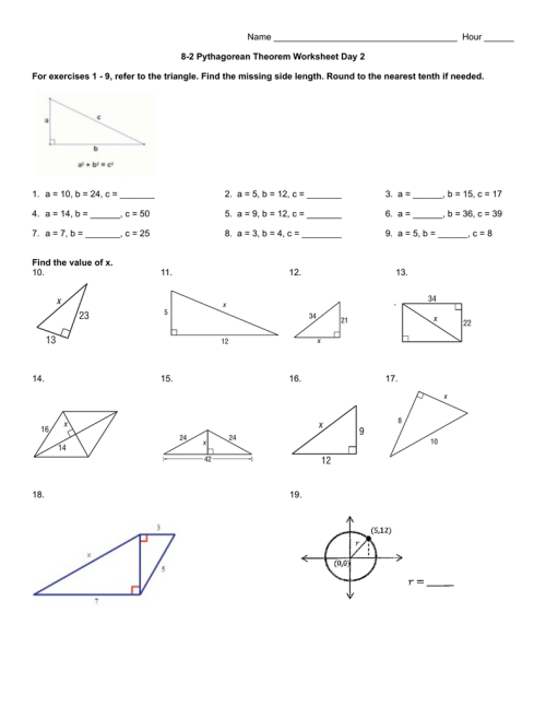 small resolution of 8-2 Pythagorean Theorem Worksheet day 2