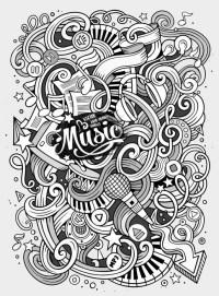 Cartoon hand-drawn doodles Musical illustration Wall Mural ...