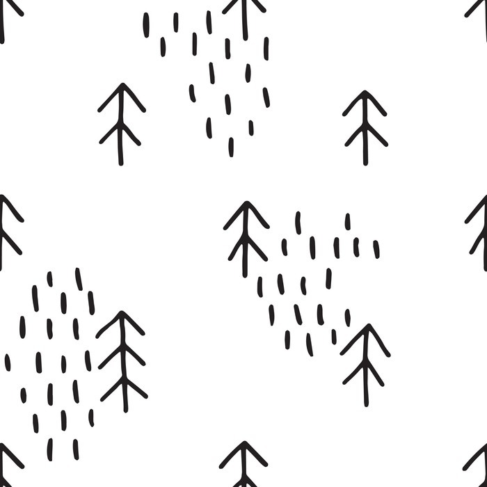 Scandinavian pattern with fir trees. Seamless winter