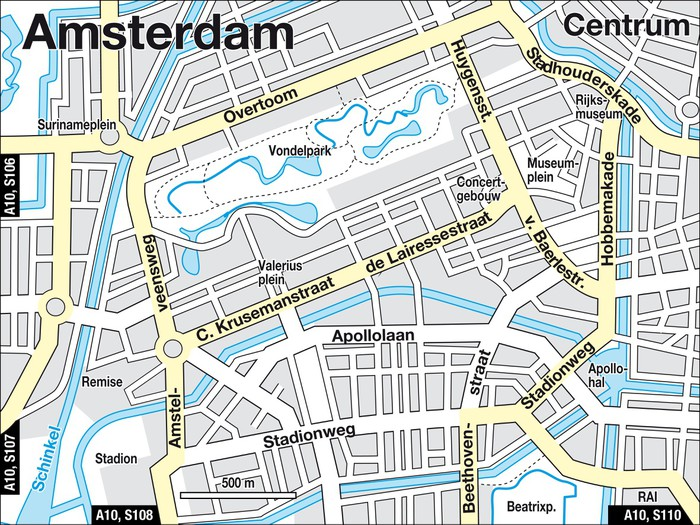 Fototapete Stadtplan Amsterdam Niederlande Innenstadt