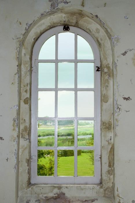 Fotobehang Oude kerk raam met uitzicht  Pixers  We