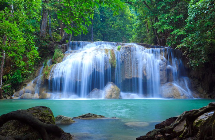 Fototapete Erawan Wasserfall Kanchanaburi Thailand