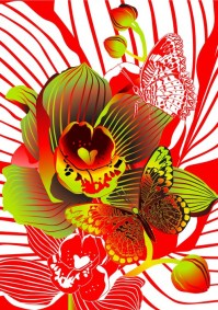 orchid and butterfly Wall Mural  Pixers  We live to change