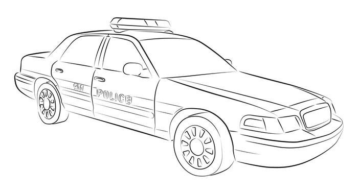 Fotomural Dibujo del coche de la policía • Pixers