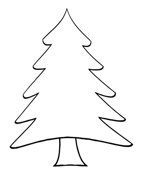 Outline Cartoon Christmas Tree Wall Mural • Pixers® • We