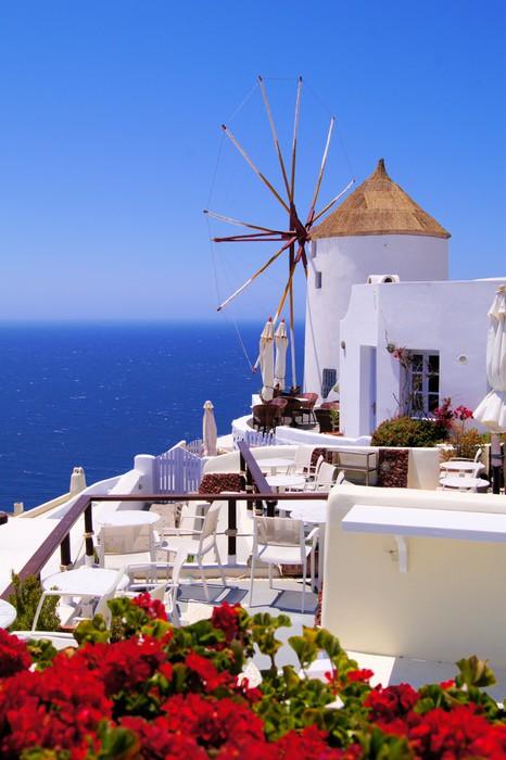 Poster Windmolen in Santorini Griekenland met rode