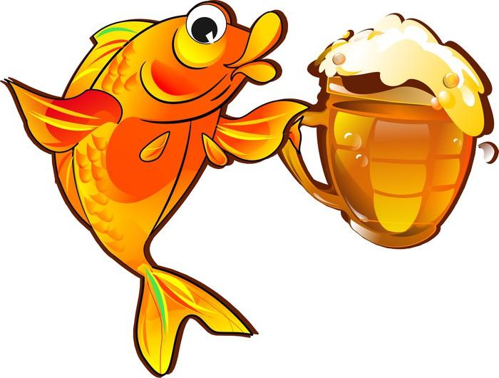 Fototapete Lustige Fisch mit Bier isoliert auf wei