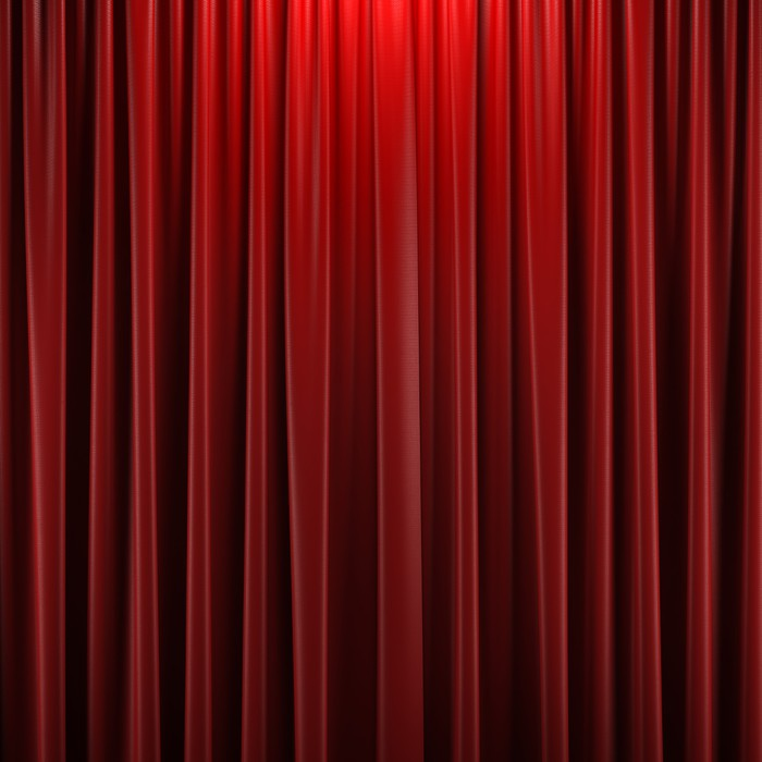 Red Closed Curtain Poster
