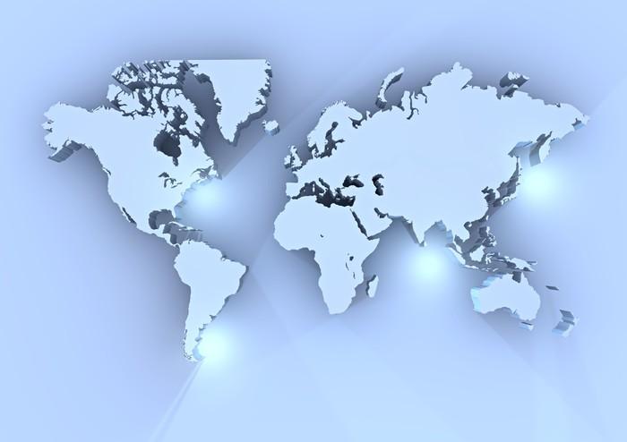 Quadro su Tela Planisfero mondo 3d azzurro cartina  Pixers  Viviamo per il cambiamento