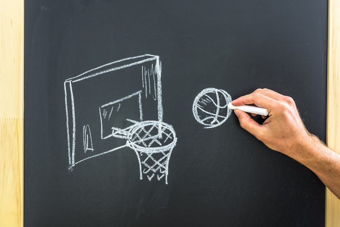Vinilo Pixerstick Dibujo canasta de baloncesto  Pixers