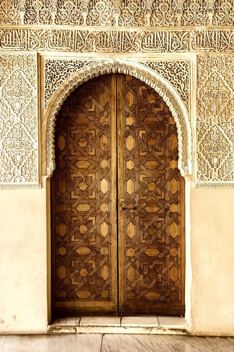 Carta da Parati Una porta decorata in stile arabo a La Alhambra Granada Spagna  Pixers