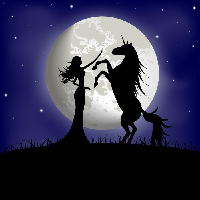 Fototapete Silhouette der schnen Mdchen und Einhorn auf einem Hintergrund des Mondes  Pixers
