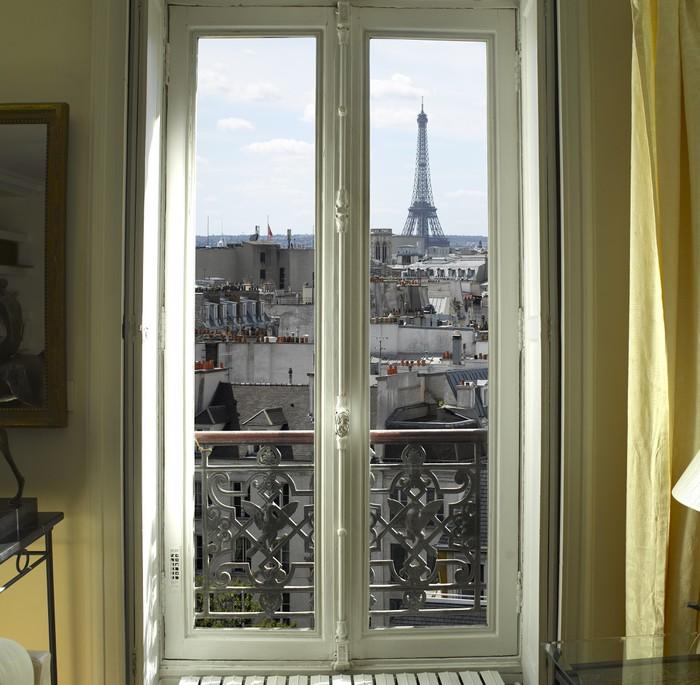 Fototapete Frankreich  Paris  Fenster mit Eiffelturm und