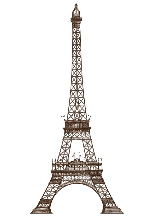 detailed illustration of the Eiffel Tower Paris Wall