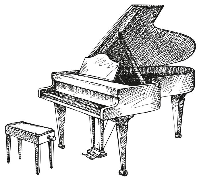 Carta da Parati Vector disegno di pianoforte e sgabello aperto per il musicista  Pixers