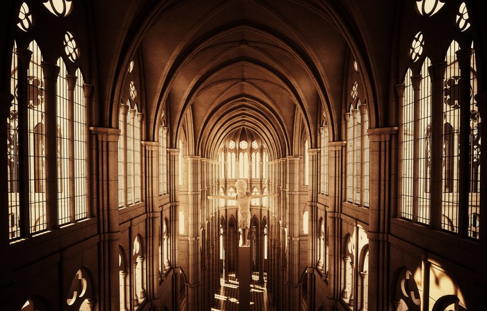 Gothic cathedral in sepia Wall Mural  Pixers  We live
