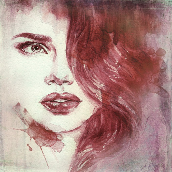 Fotobehang Vrouw portret abstract aquarel Mode