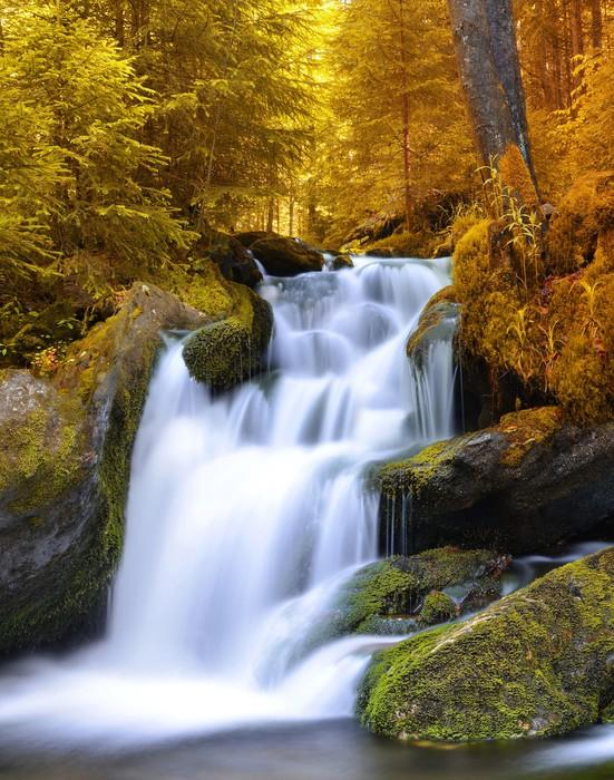 Carta da Parati Paesaggio autunnale con cascata  Pixers  Viviamo per il cambiamento