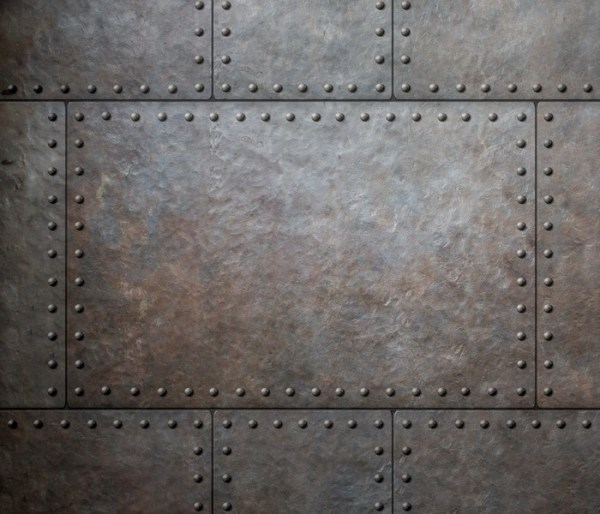 metal texture with rivets as steam punk background or