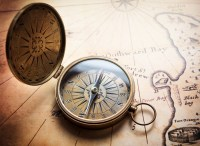Old compass on vintage map. Retro stale. Wall Mural