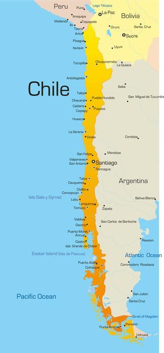 Fotobehang Abstract vector kleur kaart van Chili land