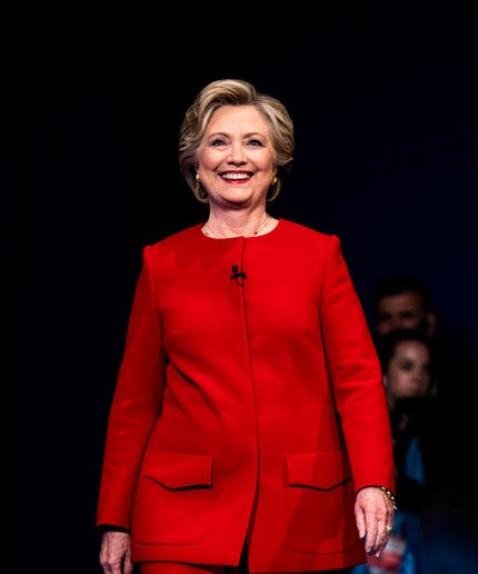 Image result for images, hillary clinton red pant suit at the debate with trump
