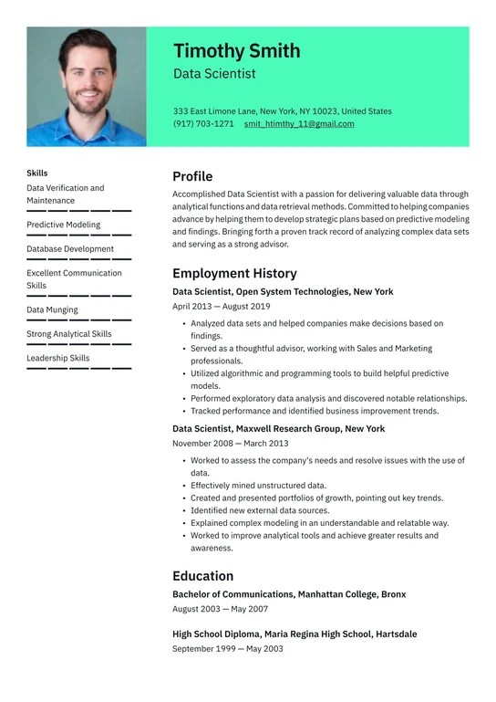 White senior writer, cio | data scientist is one of the hottest jobs in it. Data Scientist Resume Examples Writing Tips 2021 Free Guide
