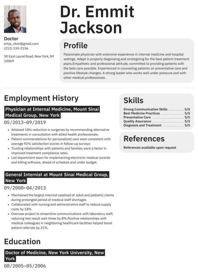 Doctor Resume Examples & Writing tips 20 (Free Guide) · Resume.io