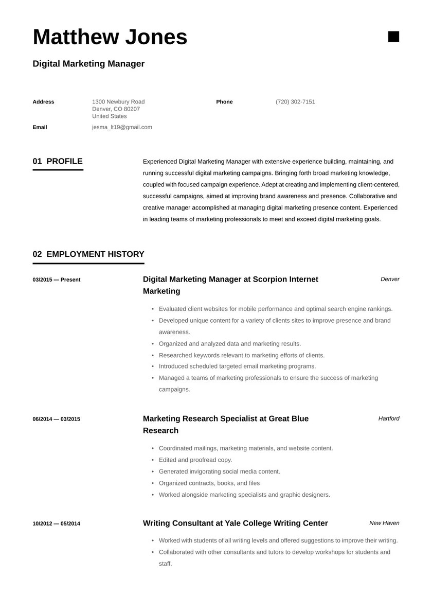 Email marketing specialist resume example (text version) victoria alves Digital Marketing Manager Resume Examples Writing Tips 2021 Free