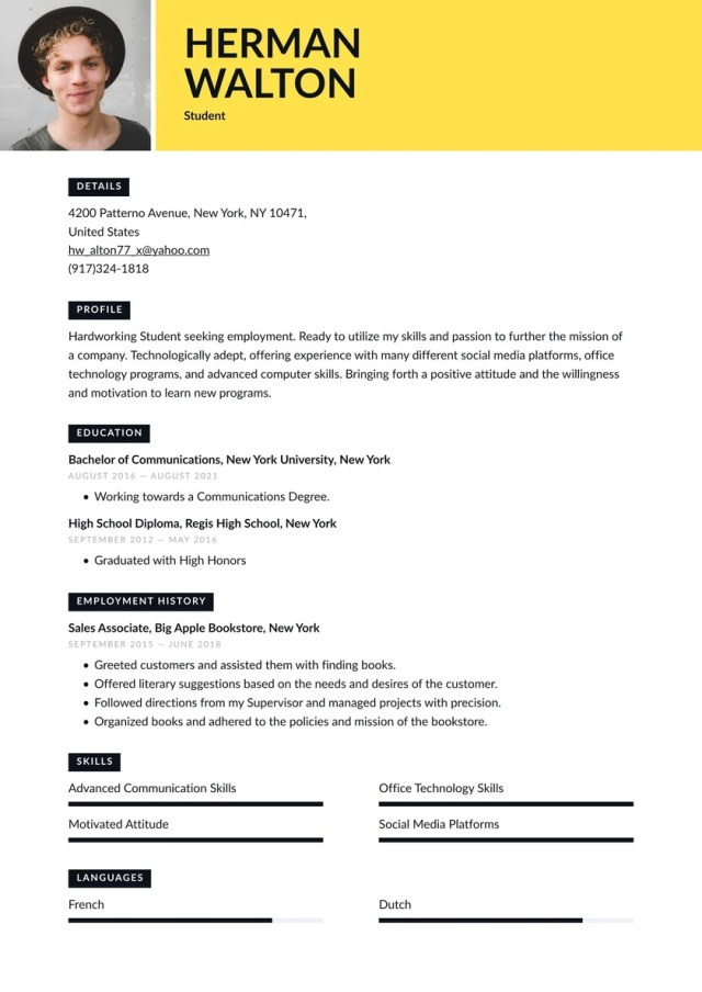 Student Resume Examples & Writing Tips 22 (Free Guide) · Resume.io