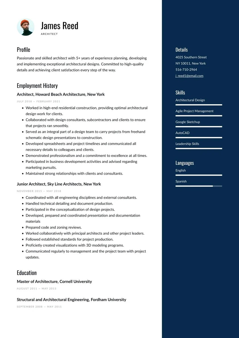 Architect Resume Examples Writing Tips 2021 Free Guide