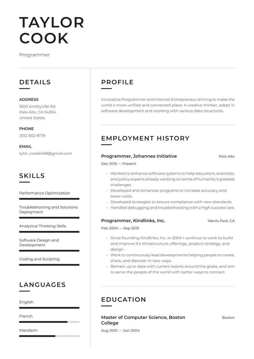 The.gov means it's official.federal government websites often end in.gov or.mil. Programmer Resume Examples Writing Tips 2021 Free Guide
