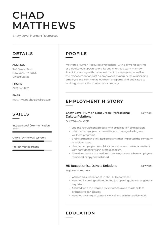Entry Level HR Resume Examples & Writing tips 27 (Free Guide)