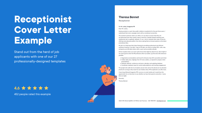 Receptionist Cover Letter Examples Expert Tips Free Resume Io